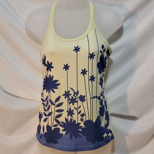 Euc Athleta Yellow And Blue Floral Tank Size Small